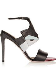 Fendi Bag Bug appliquéd leather sandals