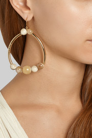 Gold-plated horn hoop earrings