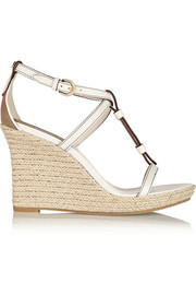 Brit textured-leather espadrille wedge sandals