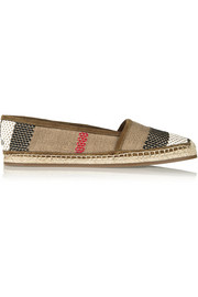 Woven leather and canvas espadrilles