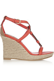 Textured-leather espadrille wedge sandals