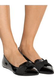 Burberry Shoes & Accessories Faille-paneled patent-leather point-toe flats