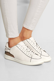 Burberry Shoes & Accessories Checked canvas and textured-leather sneakers