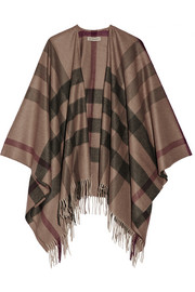 London checked cashmere and wool-blend cape