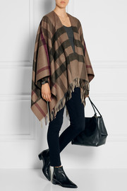Checked cashmere and wool-blend cape