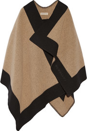 Two-tone wool and cashmere-blend cape
