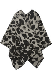Leopard-print wool and cashmere-blend cape