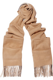 Reversible cashmere and merino wool-blend scarf