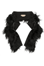 Shearling and satin-crepe scarf
