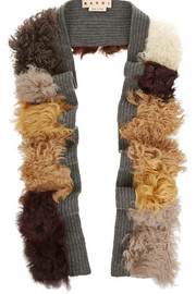 Ribbed wool and shearling scarf