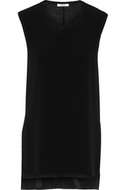 Helmut Lang Crepe and crinkled silk-crepe top