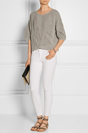 Cropped knitted linen-blend sweater