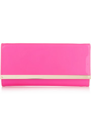 Jimmy Choo Milla neon patent-leather clutch