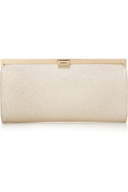 Camille metallic textured-leather clutch