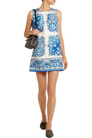 Printed cotton and silk-blend brocade mini dress