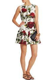 Floral-print cotton-blend brocade mini dress