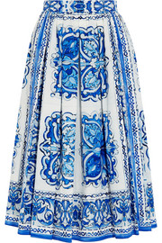 Printed cotton-poplin midi skirt