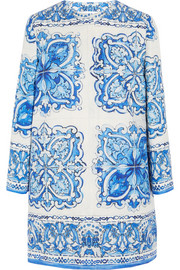 Printed cotton and silk-blend brocade coat