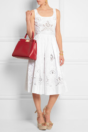 Broderie anglaise cotton-blend dress