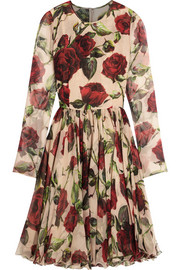 Floral-print silk-chiffon dress