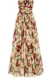 Dolce & Gabbana Ruched floral-print silk-chiffon gown