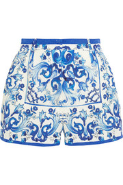 Printed brocade shorts