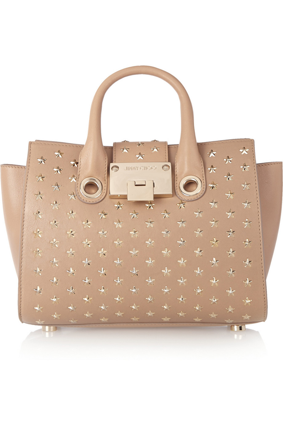 Jimmy Choo Riley Studded Leather Shoulder Bag, Neutral, Women's, Size: One Size