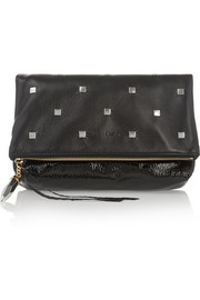 Penelope studded textured-leather clutch