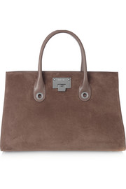 Riley leather-trimmed suede tote