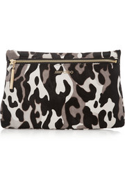 Jimmy Choo Zena camouflage-print calf hair clutch