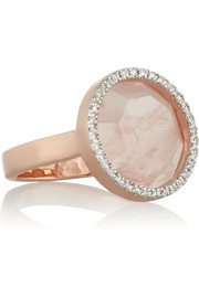 Diva Circle rose gold-plated, quartz and diamond ring