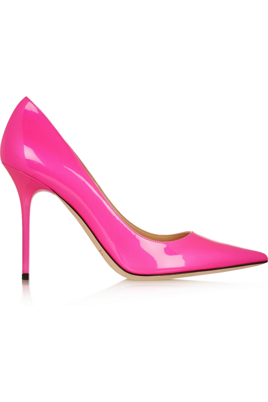 Jimmy Choo Abel Neon Patent-Leather Pumps, Pink, Women's US Size: 9.5, Size: 40