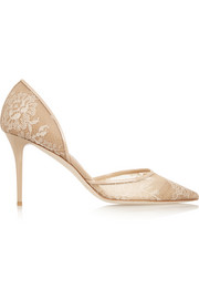 Jimmy Choo Addison patent leather-trimmed lace pumps