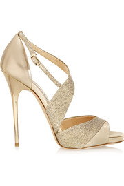 Jimmy Choo Tyne metallic leather and textured-lamé sandals