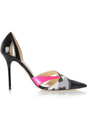 Marcine printed suede-trimmed patent-leather pumps