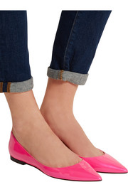 Alina neon patent-leather point-toe flats