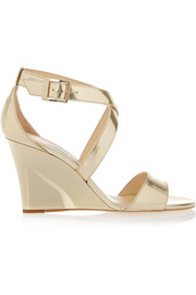 Jimmy Choo Fearne metallic textured-leather wedge sandals
