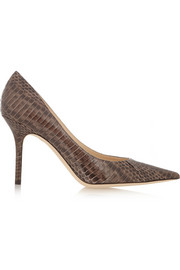 Agnes glossed elaphe pumps