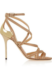 Jimmy Choo Vargo metallic leather and suede sandals