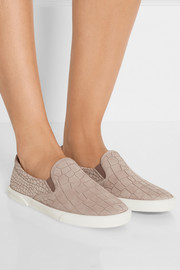 Demi croc-effect leather slip-on sneakers