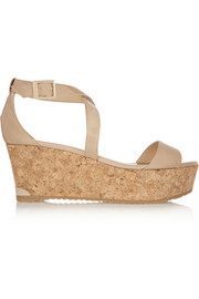 Portia patent-leather wedge sandals