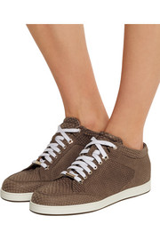 Miami lizard-effect nubuck sneakers