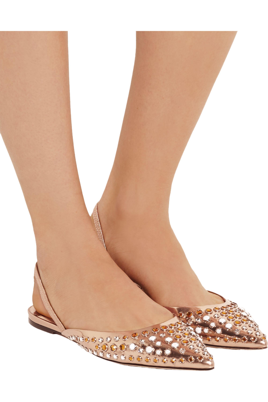 Jimmy Choo Genoa embellished metallic leather point-toe flats