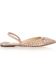Jimmy Choo Genoa embellished metallic leather point-toe flats