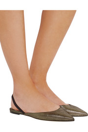 Genoa metallic striped suede point-toe flats