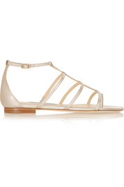 Jimmy Choo Dory metallic textured-leather sandals
