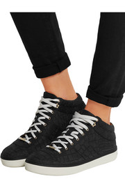 Jimmy Choo Bells croc-effect nubuck sneakers