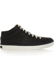 Bells croc-effect nubuck sneakers