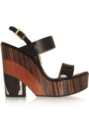Notion leather and wood wedge sandals