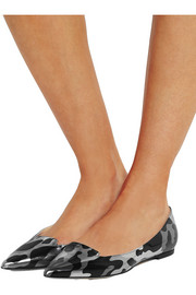 Attila metallic camouflage-print leather point-toe flats